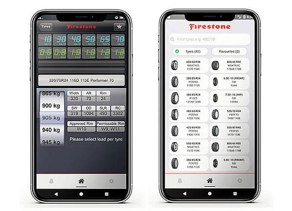 Free Firestone app for calculating tyre pressure